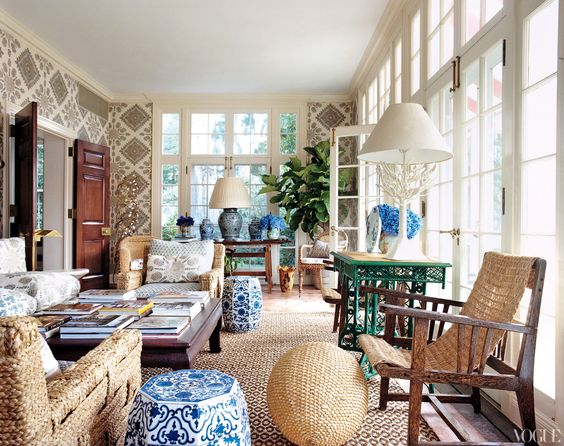 The chic contrast of blue-and-white antique china and textured wovens, by François Halard
