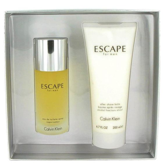 ESCAPE by Calvin Klein Gift Set -- 3.4 oz Eau De Toilette Spray + 6.7 oz After Shave Balm. Launched by the design house of Calvin Klein in 1993, ESCAPE is classified as a refreshing, spicy, lavender, amber fragrance. This masculine scent possesses a blend of mandarin, apple, plum, peach, rose and sandalwood.