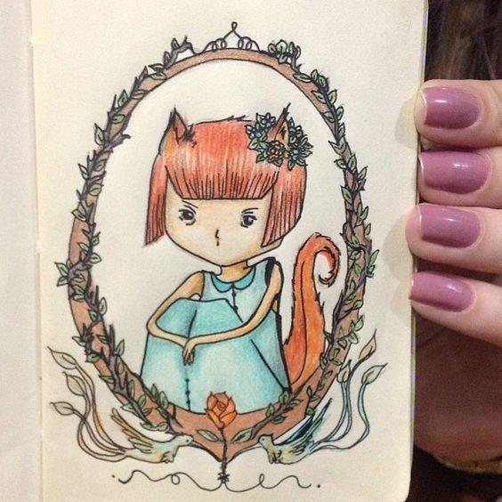 Kitsune - #ilustra #sketch #cor #nankin #raposa