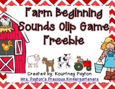 Farm Beginning Sounds Clip Game Freebie from MrsPayton on TeachersNotebook.com -  (5 pages)  - Engage and excite your students with this cute beginning sounds clip game. Provide students with clothespins and have them clip the beginning sound for each farm item. Accountability sheet is included to demonstrate understanding. Enjoy!