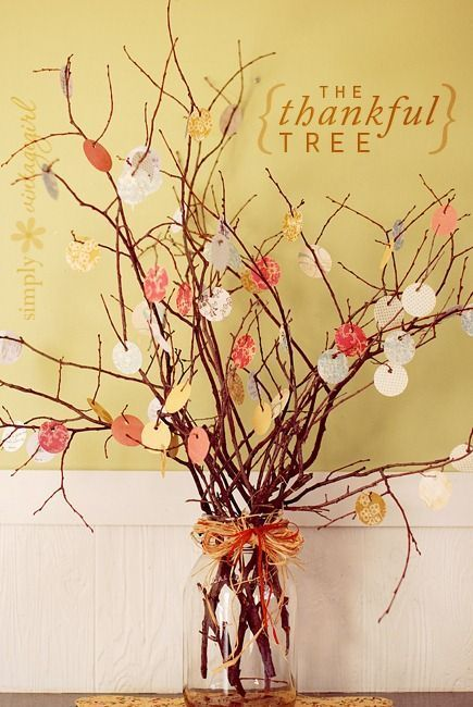 On Thanksgiving day... before tea...Collect twigs from garden, make handprint cut outs of leaves. Keep adding to each evening meal for a week.