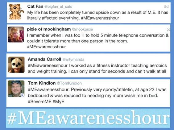 @MEAwarenessHour have put together four of the tweets from last week's awareness hour (including one of mine). It's on each Wednesday. Some times: 8-9pm (Great Britain and Ireland) 21:00-22:00 (CEST) (i.e. part of Europe) 3-4pm EST (USA). Use this hashtag: #MEawarenesshour