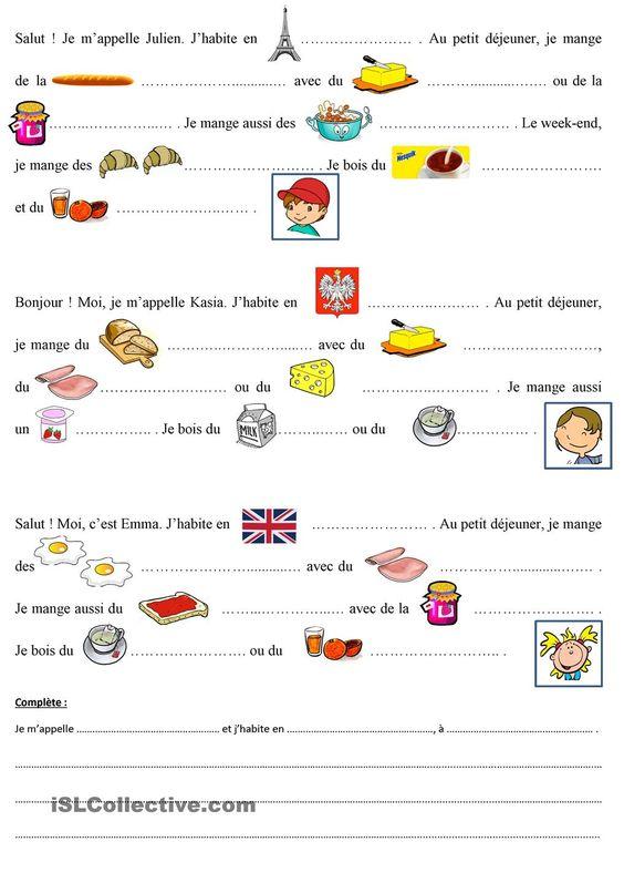 Le petit dejeuner de julien kasia et emma ressources - Vocabulaire cuisine allemand ...