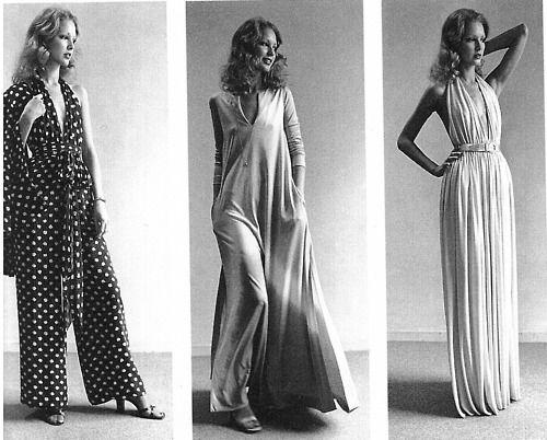 Dress designs by Halston, 1970s.