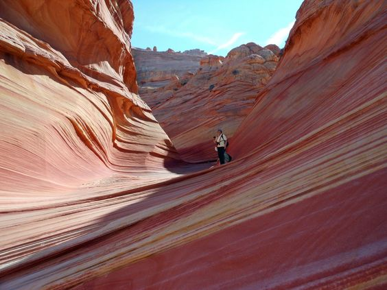 "The person in the picture will be me when I'm visiting the Southwest and seeing these gorgeous striation ""rocks"" in person. :)"