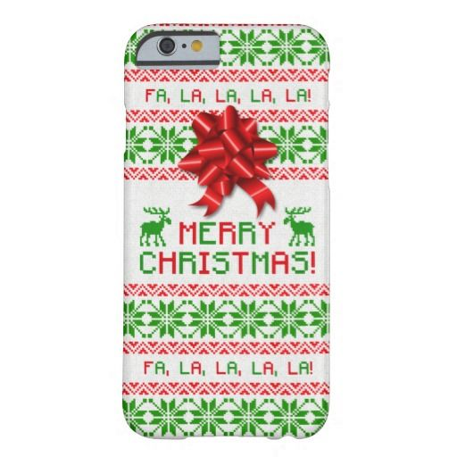 Red and green ugly Christmas sweater and bow iPhone 6 case. Dress up your iPhone this Xmas in a tacky Christmas sweater! Snowflakes and deer! Available for the iPhone 6 Plus as well.