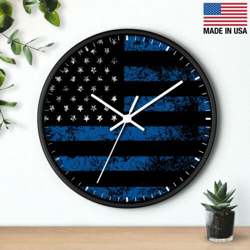 10 Wall Clock Police Officer 11 Thin Blue Line First Responder Birthday Gift In 2020 Wall Clock Clock Skeleton Wall Clock