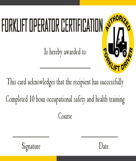 Explore Our Example Of Forklift Certification Certificate Template Training Certificate Certificate Of Completion Template Certificate Of Achievement Template
