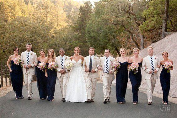 Preppy Blue & Khaki striped wedding Amsale bridal gown & @Amsale Bridesmaids french blue long crinkle chiffon bridesmaid gowns