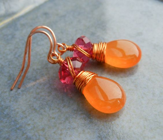 Pink and Orange Earrings, Wire Wrapped Orange Jade Hot Pink Swarovski Crystals Copper Wire.. via Etsy.