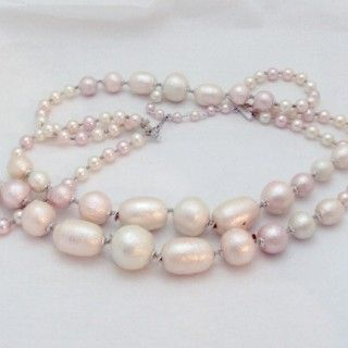 http://www.bitzofglitz.co  3 Strand Blush Pink Faux Pearl, Beads Vintage From Japan  $15.00