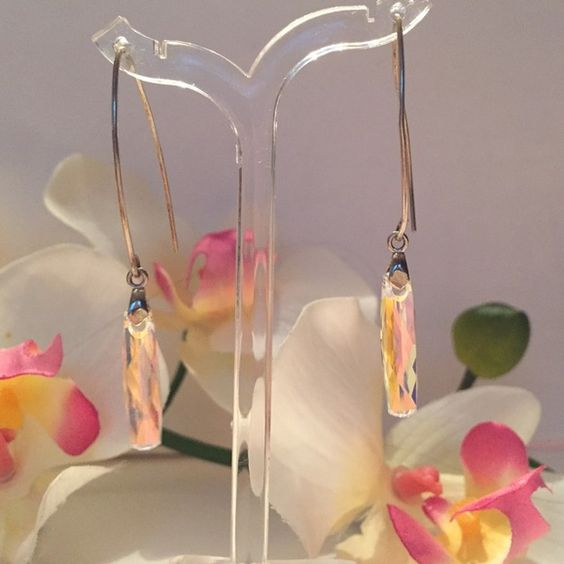 Sterling Swarovski Crystal earrings Sterling silver, Swarovski crystal clear ab earrings, long, sleek and shiny Jewelry Earrings