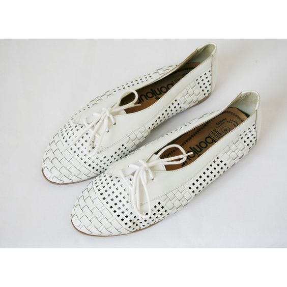 reserved white woven oxford shoes flats bonjour label