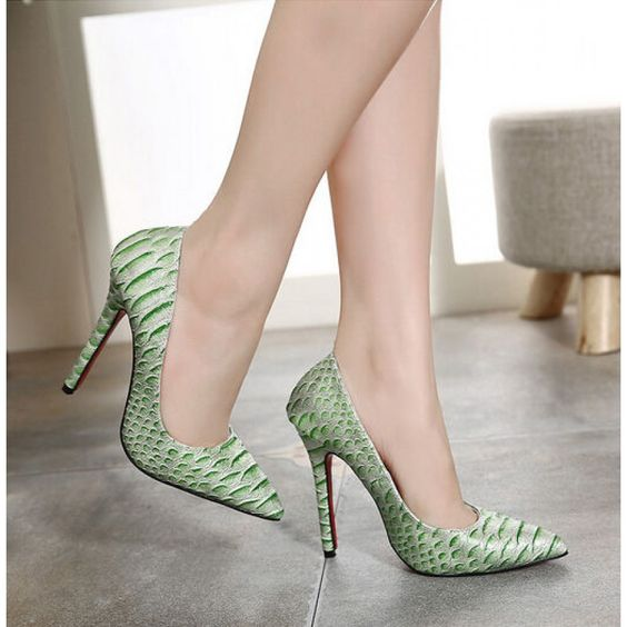 #Green #Snakeskin #HighHeels #CourtShoes #SS16 @ ShanghaiTrends.co.uk