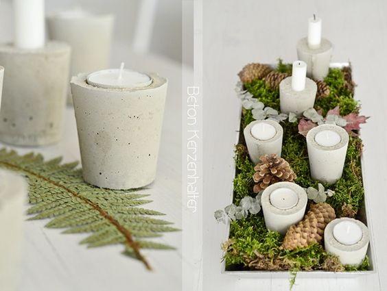 Betonkerzenhalter - super einfach gemacht mit Zement und die Tischdeko ist individuell zu gestalten. Sehr hübsch!