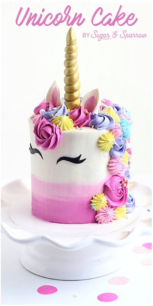 A Unicorn Birthday Cake With Pretty Piping Using Wilton Tips 1m And 4b Fondant Horn And Americolor C Unicorn Birthday Cake Unicorn Cupcakes Cake Unicorn Cake