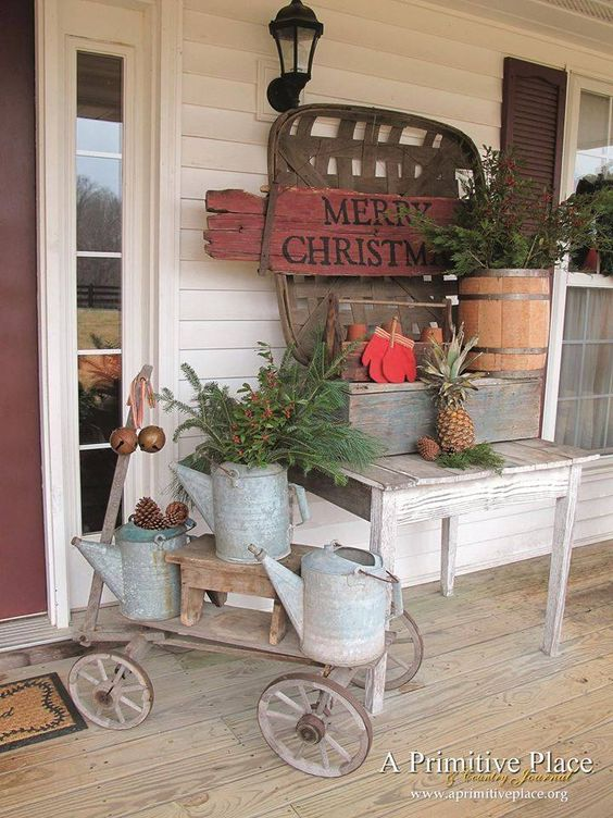 Porch decoration country christmas prim simple for Country porch catalog