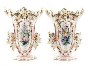 Pair Of Old Paris Style Porcelain Vases, 20th C.
