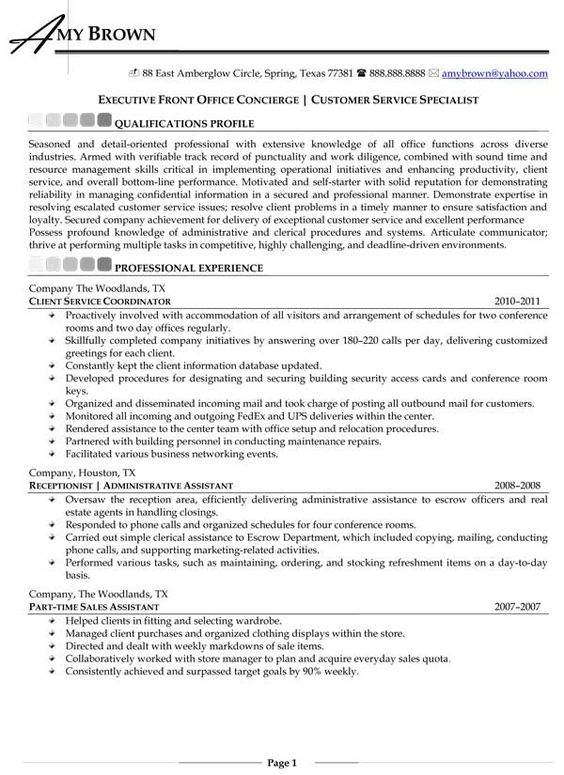 Residential Concierge Resume Louiesportsmouth Com Sample Resume Sample Resume Templates Concierge