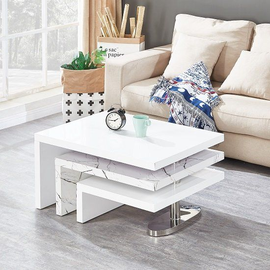 Design Rotating Coffee Table In Gloss White And Marble Finish
