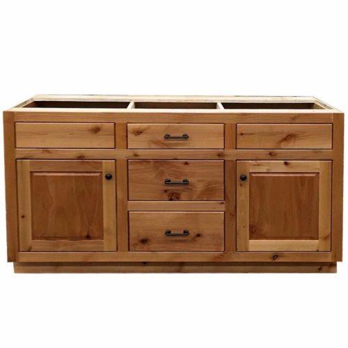 Custom Rustic Alder Wood Log Cabin Lodge Bathroom Vanity Cabinet