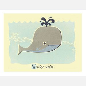 W is for Whale 14x11 now featured on Fab. @Kathryn Buncik