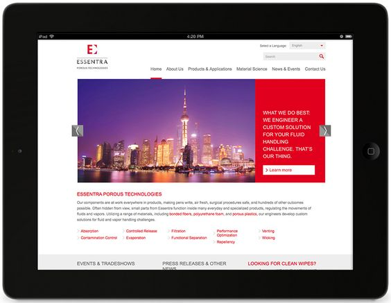 Website design for Essentra, an international manufacturer of B2B and B2C products—Raison.