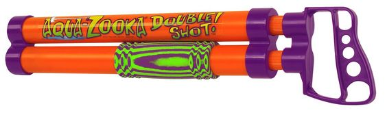 "Aqua Zooka Double Shot 18"" - You'll have double the fun soaking your friends with AQUA ZOOKA DOUBLE SHOT! This easy to operate, over/under double barrel quick-filling water bazooka is constructed of high-impact thermoplastics to take a lot of pu"