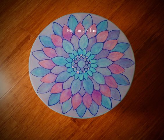 HAND DRAWN AND PAINTED MANDALA TABLE. Chalk Paint, Ink and Water Colours. I had a lot of fun with this one !!!
