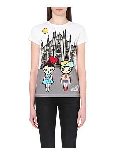 LOVE MOSCHINO Doll-print cotton-jersey t-shirt