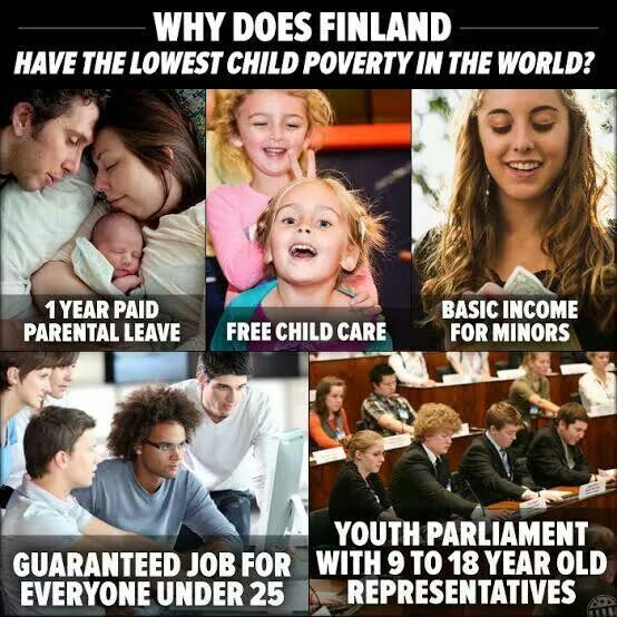Add to that school health care and lunch provided everyday, which covers about a third of the daily nutritional need. #Finland #child #poverty. Finland treats minors like people who deserve to be given a fair chance at life, imagine that.