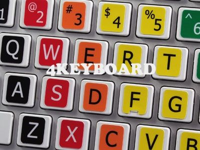 The unique design of Learning Keyboard stickers helps to learn how to type fast, just by positioning your fingers on the corresponding color for each key.