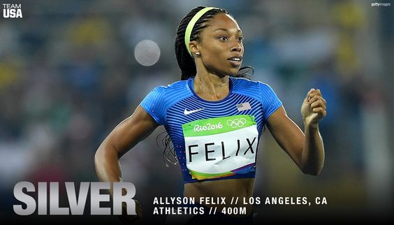 U.S. Olympic Team ‏@TeamUSA  Aug 15 Catch her if you can!   @allysonfelix wins #SILVER!
