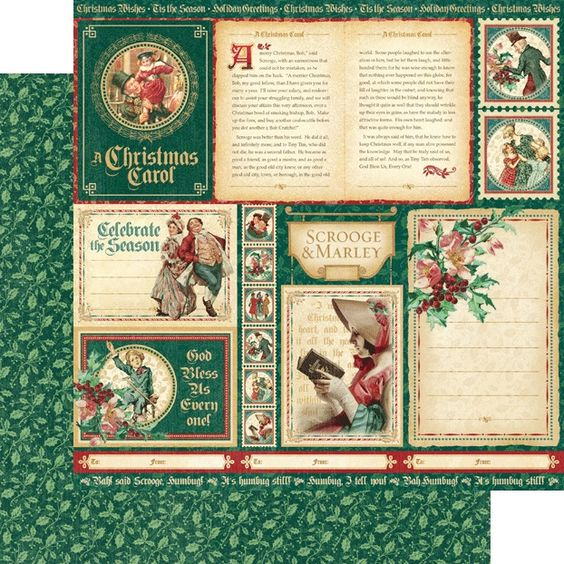 """*PRE-ORDER* Graphic 45 - A Christmas Carol Collection - 12""""x12"""" cardstock - Scrooge & Marley"""