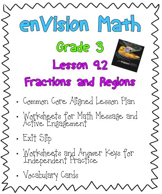 Grade 3 enVision Math Lesson 92 Fractions and Regions – Envision Math 5th Grade Worksheets