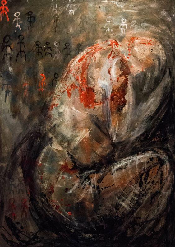Krzyzanowska Nikita, Bez tytułu, technika mieszana na płycie HDF, 170x120 cm, 2017r.