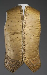 Man's Waistcoat  Made in England  or France  1780s  Artist/maker unknown, English or French  Silk faille with supplementary metallic wefts; silk embroidery in satin and stem stitches and couched metal-wrapped threads; metallic purls and sequins; cotton plain weave  Center Back Length: 17 1/2 inches (44.5 cm) Waist: 38 inches (96.5 cm)