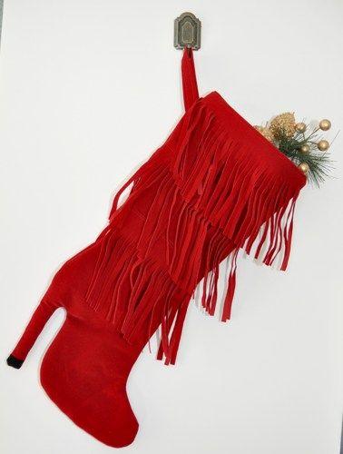 Red high heel boot Christmas stocking | zorraindina - Seasonal on ArtFire