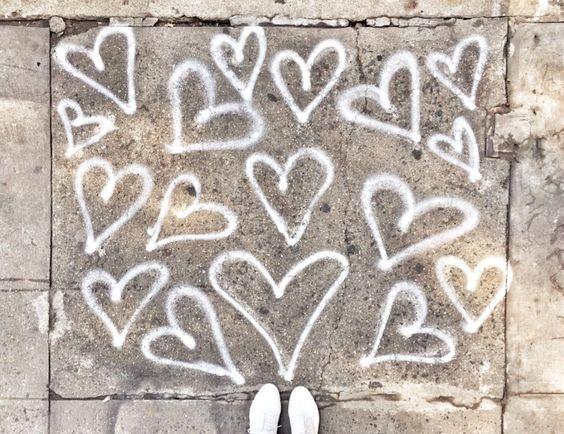 Sidewalk hearts. Via @garancedore on Instagram