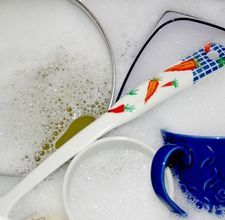 For those without dishwashers and wash by hand, here is a recipe for dish soap! Only 4 ingredients.  Bar soap (scraps work great!), water, vinegar, and lemon juice.