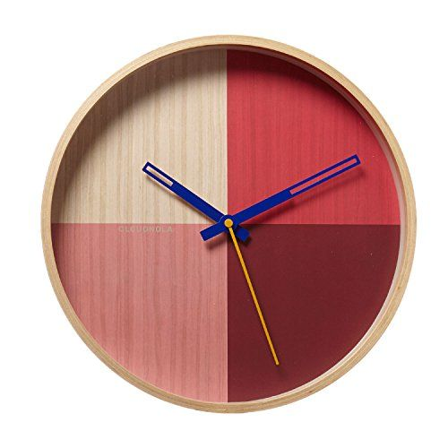 Cloudnola Flor Wood Wall Clock And Wall Decor Red And Pink 12 Inch Diameter Battery Operated Quartz Movement Sile In 2020 Wall Clock Wood Wall Clock Clock