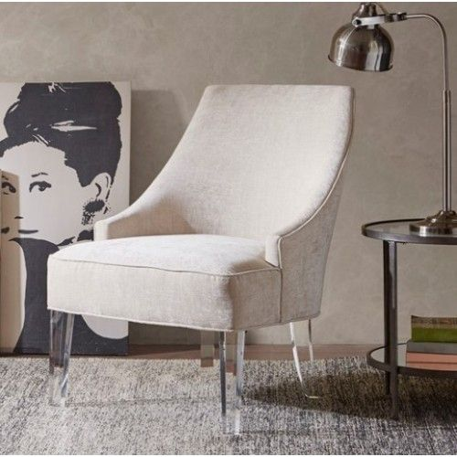 Light Grey Fabric Acrylic Leg Accent Chair Leather Dining Room