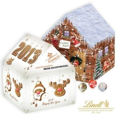 Personalised House Shaped Lindt Advent Calendar. Seasonal Advent Calendar Filled With Lindt Chocolates. :: Promotional Advent Calendars :: Promo-Brand Promotional Merchandise :: Promotional Branded Merchandise Promotional Products l Promotional Items l Corporate Branding l Promotional Branded Merchandise Promotional Branded Products London