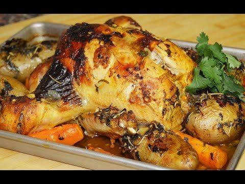دجاج مشوي بالفرن مع الخضار Chef Ahmad Allcooking Roasted Chicken Youtube Syrian Food Meat Recipes Food