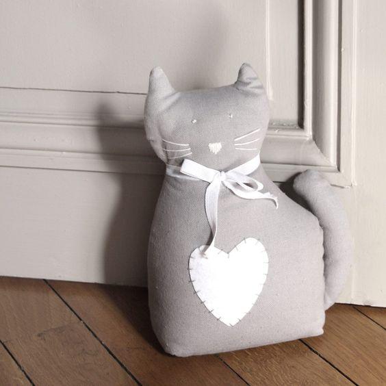 Cale porte chat gris maisons du monde couture pinterest - Cale porte tissu ...