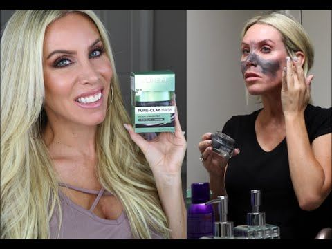 Loreal Pure Clay Masks Review + Demo | Detox & Brighten $12.99 Drugstore Mask - YouTube