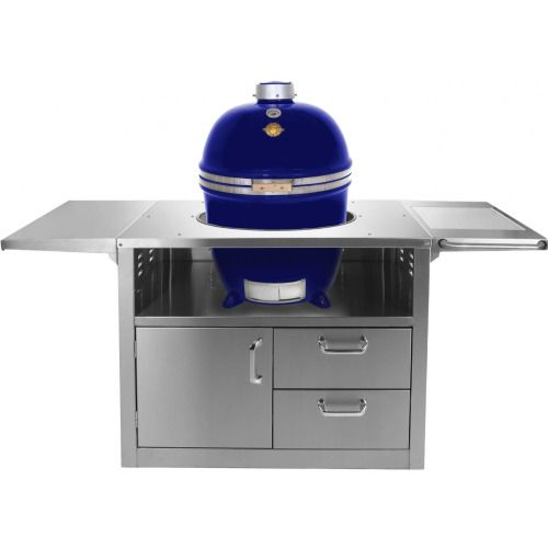 Grill Dome Infinity Series Large Kamado Grill On Stainless Steel Cart - Blue