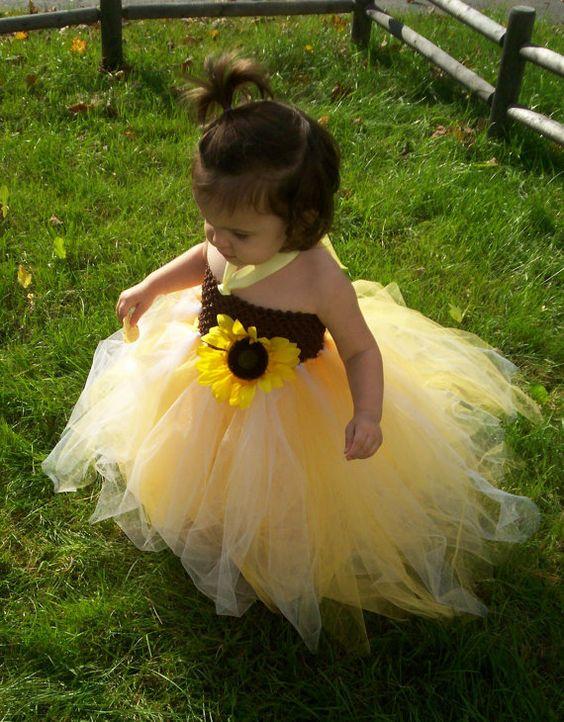 Flower girls sunflowers and tutus on pinterest for Sunflower dresses for wedding