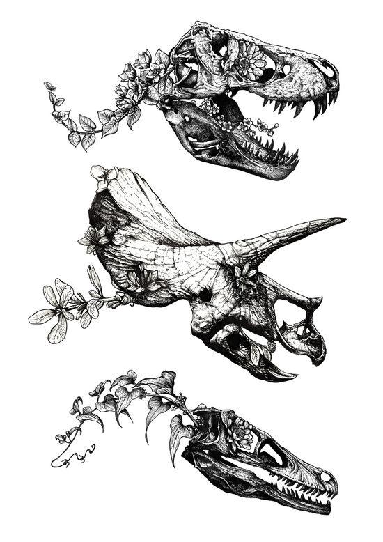 floral dinosaur drawing // society6