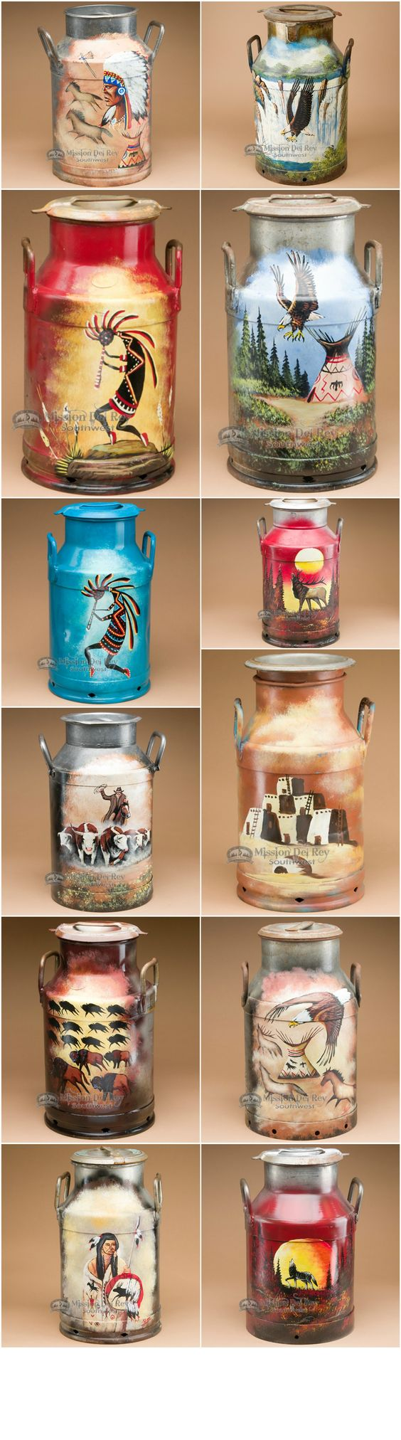 Using painted southwestern scenes is a great way to add rustic, southwest style to your home.  Place one of our painted milk cans in a rustic kitchen or living room to instantly add a southwestern touch to your home.  Pair these with other southwest decor like western bedding, southwestern pillows, Native American handcrafts and more to tie the look together. See more at http://www.missiondelrey.com/southwestern-painted-milk-cans/